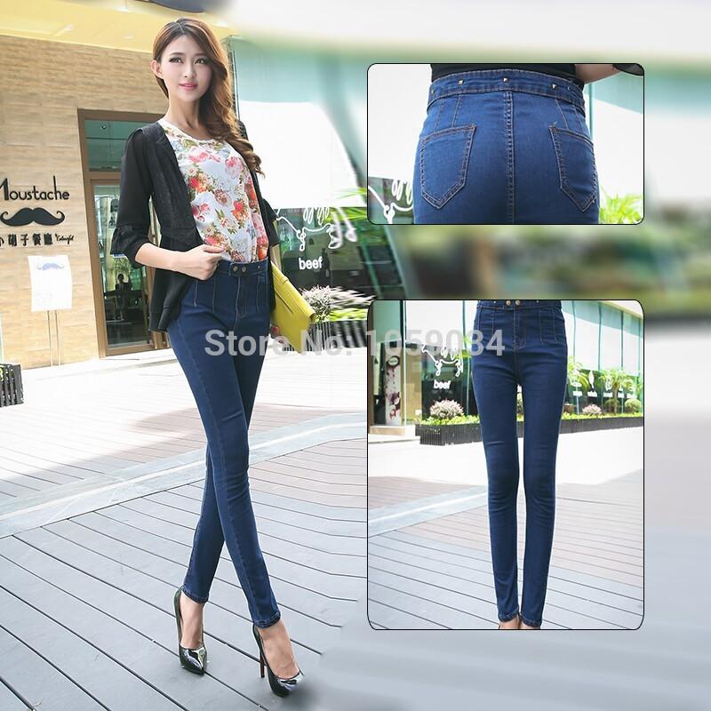 Woman'Sexy Jeans Korean Pencil Pants Slim was Thin Women Jeans Denim Pants Classic Skinny Jean Fashion 2014 Summer Spring(China (Mainland))