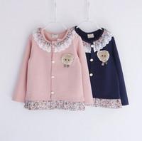 new 2014 autumn winter children girl cotton lace collar cartoon floral trim outerwear coat kids girls casual jacket clothes lot