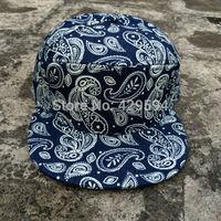 Wholesale custom paisley denim 6 panel blank snapback cap cusntom headwear bsaeball cap