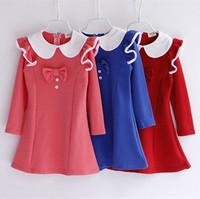 autumn winter 2014 new children fashion long sleeve cotton ruffle bow dress kids casual princess wholesale dresses clothes lot