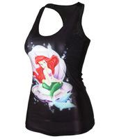 EAST KNITTING    3D  Mermaid series digital printing new tight vest   FREE SHIPPING