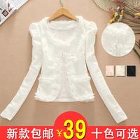 2014 autumn lady short jacket female lace patchwork OL elegant design short outerwear