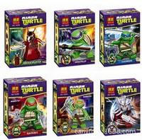 free shipping bela10200-10205 6pcs ninjago turtle minifigures with weapon skateboard generation building blocks kids toy