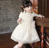 New High Quality  Children Fall Dot Pearl Bow  Dresses , Princess Elegant Clothing Wholesale 5 pcs/lot, Free Shipping