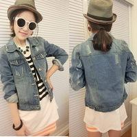 European and American style retro jacket old washed denim jacket women worn long-sleeved  Slim jacket
