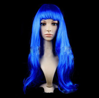 "Ladies 18"" Blue Long Fancy Dress Wigs Straight Cosplay Costume Women Wig Party"
