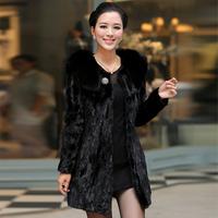 Free shipping 2014 fur mink female medium-long slim fight mink fur outerwear