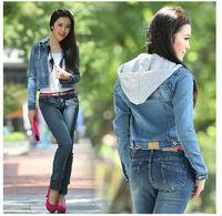 Spring autumn popular fashion women casual hooded denim jacket,slim short design all-match jeans jackets casacos femininos,S-XL