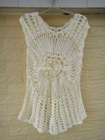 Ivory Women Wrap Blouses Handmade Crochet Summer Floral Top