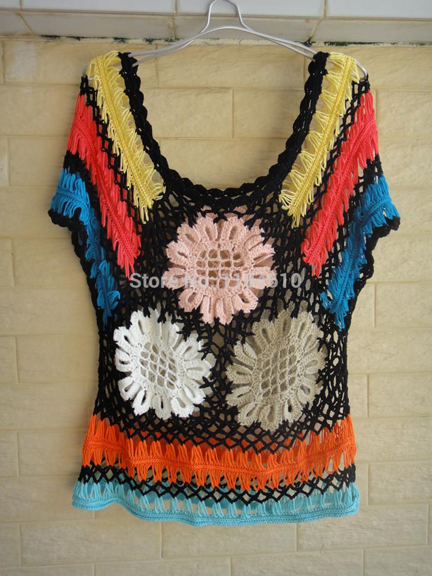 Negro puro encaje Blusas Femininas verano Floral Crochet Top horquilla ...
