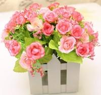 Free Shipping Rattan Vase + Flowers Wedding Home Decoration Artificial Rose Flower Wreaths Straw Basket