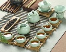 Chinese tea set of good quality ceramic tea pot with infuser tea cup gaiwan porcelain filter net and folder crackle glaze gift