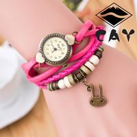 JW011 Little Rabbit Pendant Leather Strap Wooden beads decoration Retro Watches Casual bronze Women wristwatch bracelet Watch