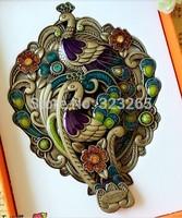 Exclusive design limited edition colored peacock mirror, retro imitation copper folding mirror, gift mirror, upscale boxed,