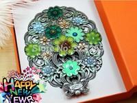 Folding antique bronze mirror, mirror, portable mirror, mirror painted flowers, gift boxed,girlfriend presents