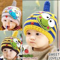 40-54cm stripe color Woolen children hat for kids cartoon frog baby winter cap children baby hats free shipping