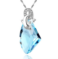 Wholesale (30 pcs/lot) Crystal Dolphin Necklace for Women Necklaces & Pendants Free Shipping