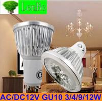 4pcs/lot 12V GU10 3W 4W 9W 12W Dimmable High Power spot light AC/DC 12V LED spotlight tubes bulb Lighting lamps LS72