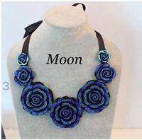 Charm Blue Shourouk Rose Flower Neon Dress False Collar Statement Necklaces & Pendants 2014 New Fashion Jewelry For Women N67