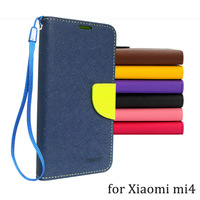 Case for XiaoMi mi4 leather flip cover magnetic buckle M4 luxury wallet cases for xiaomi mi 4 double color design Free shipping
