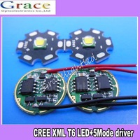 Freeshipping! 2 sets Cree XML-T6 White Color 10W LED chip 16MM + 5 Modes DC3.7V 2.5A LED Driver for flashlight parts