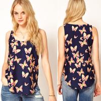 NEW fashion Chiffon Butterfly Print Round Neck Sleeveless women's Tops blue shirt women blouse free shipping