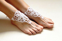 Crochet beige barefoot sandals,Nude shoes,Foot jewelry,Victorian Lace,Yoga shoes,Bridal anklet,beach accessories, lace sandels