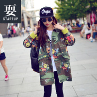 Unisex street Camouflage outerwear loose vintage medium-long plus size leopard print trench