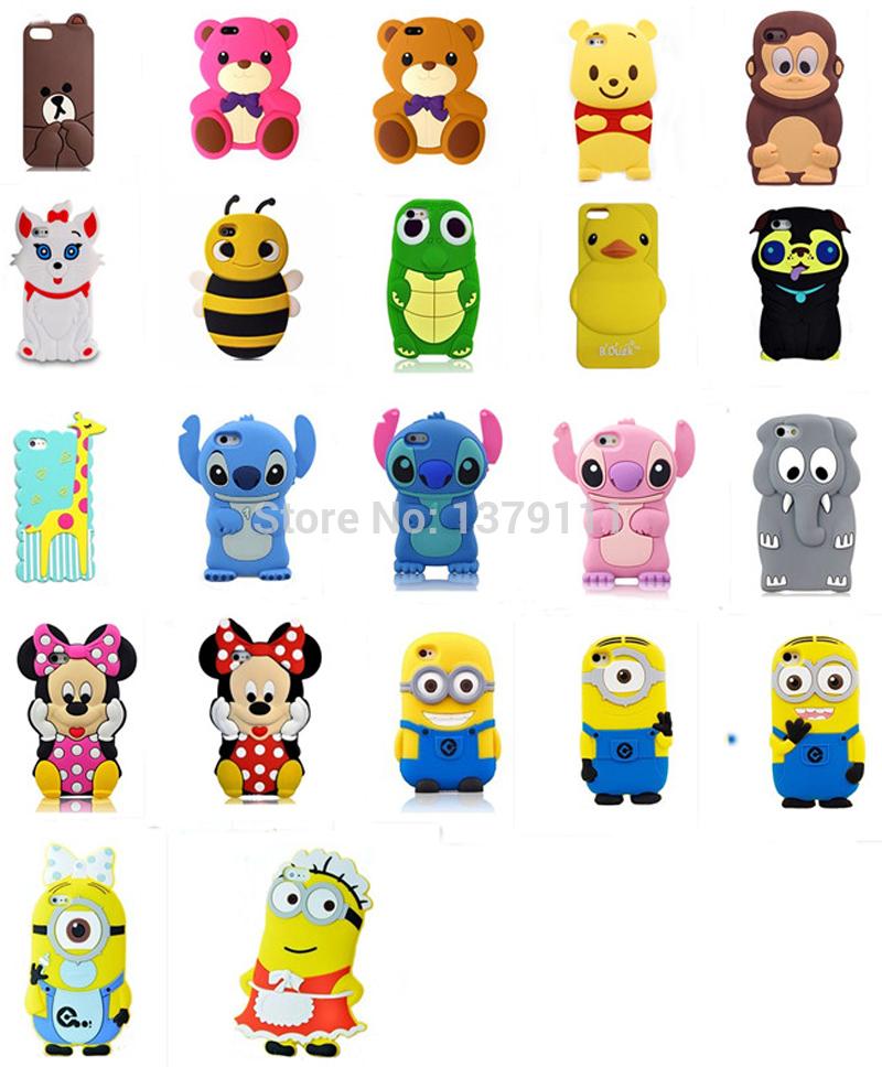 Newest 3D cartoon animal Monkey/duck/Giraffe/Turtle/Elephant/teddy/winnie/bear/cat/dog soft silicone case cover For Iphone 4 4s(China (Mainland))