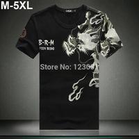 2014 Men T Shirts Novelty Chineses Dragon Printing Tatoo Male O Neck Top Tees Plus Size M-5XL Camiseta