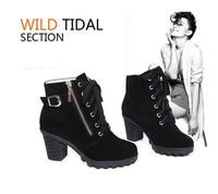 New Black Blue Zip Boats Femininas Ankle Boots High Heel Autumn Winter Boots