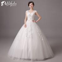 Retro lace ball gown Wedding Dresses 2014 fashion beading lace up backless vestido de novia plus size hs 0008 y