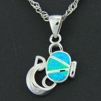Pacific Blue Fire Opal Silver  Fashion  Jewelry Women & Men Pendant OCP0121L Wholesale & Retail