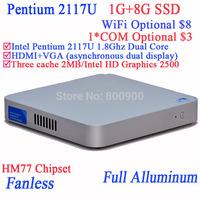 Cheapest Intel Pentium 2117U Dual Core Mini Pcs with Fanless Full Aluminum Ultra Thin Chassis 1G RAM 8G SSD Windows Or Linux