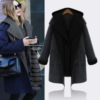 L - 6XL Plus Size Medium-long Hooded Woolen Overcoat, 2014 Autumn Winter Lady Fashion Outerwear, Women Thick Trench Coat