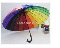 Wholesale Summer / rainy day Umbrella 24 rainbow umbrella large umbrella straight long shank hook umbrella