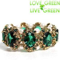 2014 Free Shipping brand hotsell Gold emerald crystal stone rhinestones Bracelet  Bangle jewelry women wedding fashion 1105