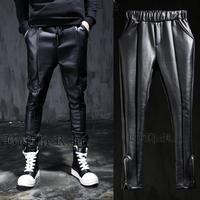 Free shipping! The new Diablo new men punk rock wild Gaosi foot mouth zipper leather pants