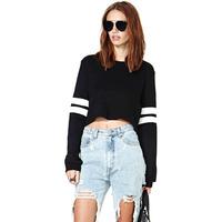 Whitestripe patchwork black t shirt long sleeve baseball style knitting cuff tops 2014 new casual t-shirt haoduoyi free shipping