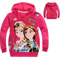 xlbb37 rose red anna / elsa children frozen hoodie 2-8 age girls frozen sweater 6pcs/ lot free shipping