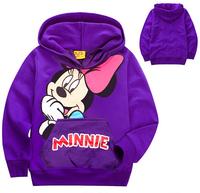 xlbb43 new 2014 purple color minnie mouse children hoody 2-8 age girls sweatshirt 6pcs/ lot free shipping