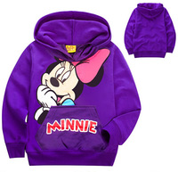 xlbb43 purple minnie hoodie casual children hoodies 2-8 age girls sweatshirt 6pcs/ lot free shipping