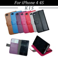 100pcs/lot Free Shipping Lichee Series Book Style 2 Card Slots Leather Case with Stand for iPhone 4 4S
