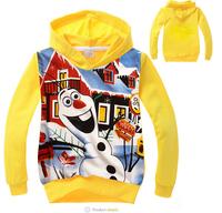 xlbb42 new 2014 lovely olaf unisex children frozen hoodie 2-8 age kids frozen sweater 6pcs/ lot free shipping