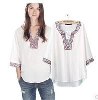 Free shipping 2014 new European leg of the V-neck beaded embroidery ethnic fashion wild wind jacket shirt blouse