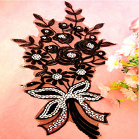 Black 3D flowers motif Large fabric applique exquisite embroidery diy sewing accessories flower patch promotional