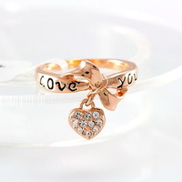 Free Shipping LZESHINE Brand Black Enamel Love You Ring Heart Bow 18K Rose Gold Plate Austrian Crystal SWA Elements Rings jz0216
