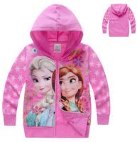 xlbb40 new 2014 frozen anna / elsa children outerwear 2-8 age rose red / blue girls frozen jacket free shipping 6pcs/ lot