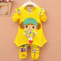 2014 female child autumn children's clothing child set clothes autumn and winter baby
