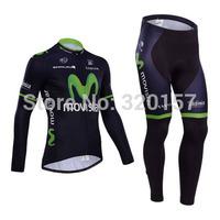 2014 winter Fleece Thermal movistar Cycling Jersey bicicleta Ropa ciclismo bicicleta bicycle bike maillot clothing (bib) pant